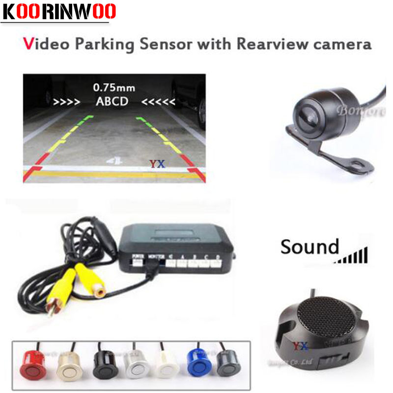 2017 Dual Core CPU Parktronic 4 car Parking Sensors with car Rear view camera parking Accossories Park Radar Alarm Video System(China)