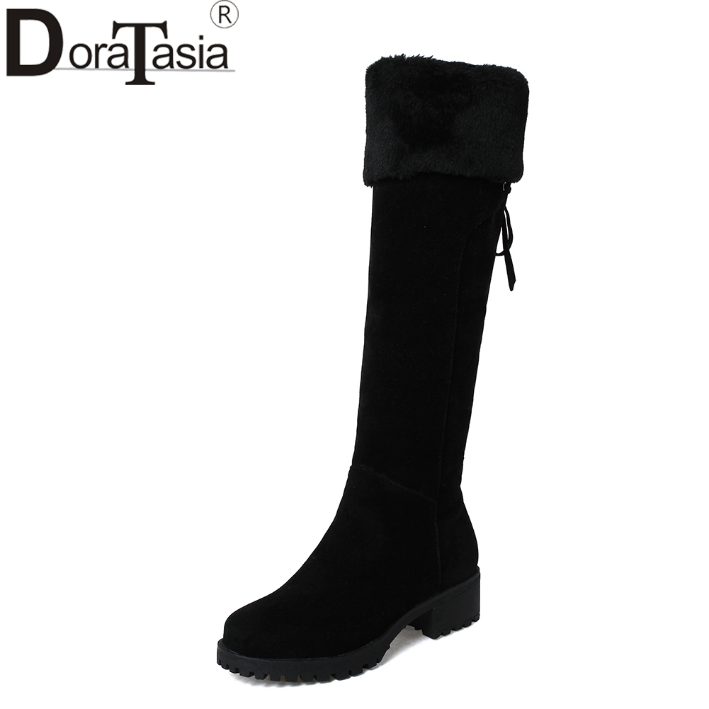 DORATASIA 2018 Wholesale Large Size 32-44 Zip Up Chunky Heels Boots Women Shoes Woman Black Warm Knee High Boots