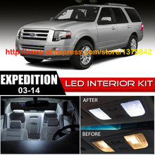Free Shipping 16Pcs/Lot 12v car-styling Xenon White/Blue Package Kit LED Interior Lights For 03-14 Ford Expedition