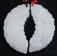 one Pair Real natural Handmade Chinese White stone Carved dragon Phoenix pendant Necklace Fashion Jewelry wholesale