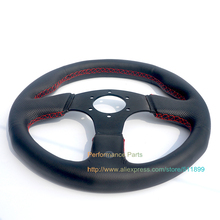 Free Shipping: 330mm/ 13inch Flat Steering Wheel Leather Auto Steering Wheel Game Steering Wheel