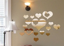 Love Hearts Mirror Decoration Sticker Hearts European Design Romantic Living Room Bedroom Mirror Waterproof Wallpaper Home Decor(China)