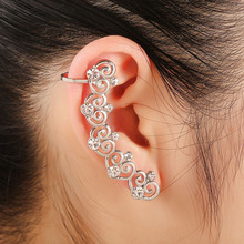 Retail Zinc Alloy Gold Pleated Trendy Crystal Clip Earrings for Women Right Ear Cuff Earings on Ears Wrap Cuff
