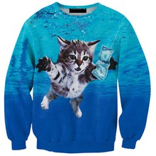 New 2017 Men 3D Mens Sweatshirts Cat Dollars Blue Cute outwear  anime Jumpers Pullover Sweatshirt Tops