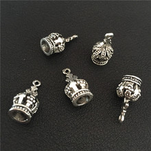 8pcs 18*9mm Vintage Trendy Antique Silver Exquisite King Queen 3D Crown Charms Pendant for Bracelet Necklace Jewelry Findings
