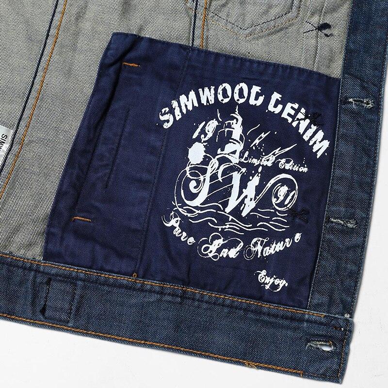 SIMWOOD 2017 New Autumn Winter denim jacket men fashion streetwear jeans jacket 100% cotton NJ6510