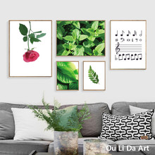 no frame modern green mint leaf rose music note canvas printings oil painting printed on canvas home wall art decoration picture(China)