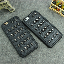 3D Fashion Cool Studs Rivet Punk Skull Design Silicone Case For iPhone 8 6 6s 7 Plus Black Rivet Leather Phone Cover Skin Capa