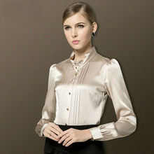 100%Real SILK blouse Women long sleeve Stand collar Solid Blusas femininas Office lady STRETCH Plus size 2015 NEW shirt Spring