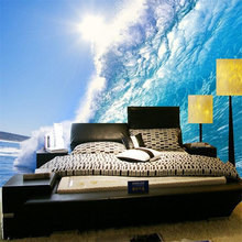 beibehang senior wallpaper custom painting living room living room dark blue waves waves big mural TV background photo wallpape