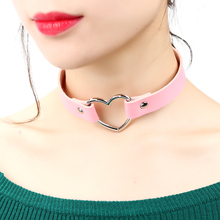 2019 핫 PU Leather 펑크 Heart 박힌 숨 막히게 Necklace 리벳 Buckle Collar Necklace Gift 대 한 Women Jewelry(China)