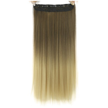 Soloowigs Silky Straight Ombre Synthetic Hair Extensions High Temperature Fiber Women 24inch Long 5 Clip-in Gradient Hair Pieces(China)