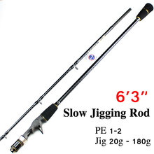 Free Shipping 1.9m 1+1 Section CW 20-180g Slow Jig Rod Jig Rod FUJI REEL SEAT AND RING Slow Pitch Jig Rod Slow Jigging Rod