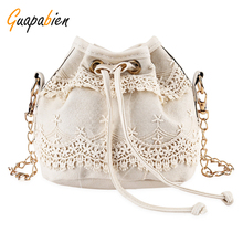Guapabien Women Bucket Shoulder Bag Lace String Closure Chain Bag for Ladies Black Solid Color Female Handbag Messenger Bags