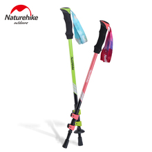 Naturehike Carbon Fiber Walking Stick Aluminum Trekking Poles Alpenstock Hiking Cane Ultralight Adjustable 1PCS 2 Color(China)