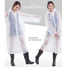 2017 Fashion Women EVA Transparent Raincoat Poncho Portable Environmental Light Raincoat Long Use Rain Coat
