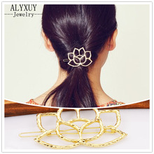 New fashion hairwear gold color hollow lotus leaf hair pin gift for women girl H402