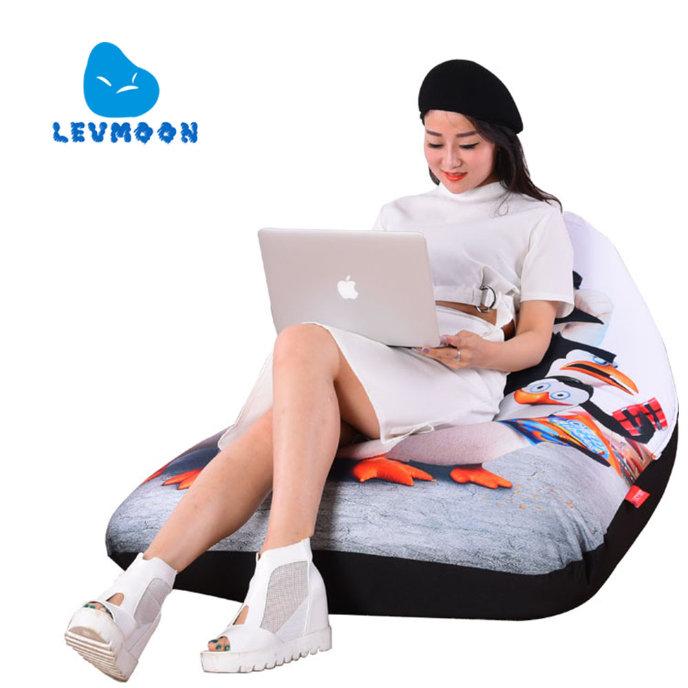 LEVMOON Beanbag Sofa Chair Shel Madagascar Seat Zac Comfort Bean Bag Bed Cover Without Filler Cotton Indoor Beanbag Lounge Chair<br>