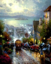 printed thomas kinkade landscape oil painting prints on canvas wall art picture for living room home decorations 40*50cm ps65423(China)