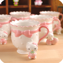 HELLO KITTY 3D Summer ceramic cup cute cartoon stereo doll Princess  Office coffee pink mugs