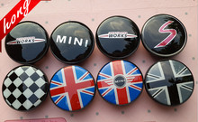 4pcs 54mm colorful England Flag WORKS MINI ABS Plastic MINI Car emblem Wheel Center Hub Cap Dust-proof Badge logo covers