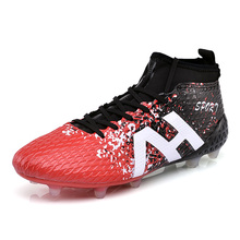 Ibuller High Ankle Men Soccer Shoes Outdoor Long Spikes Football Boots Cleats Crampons Football Haute Cheville Size 34-44 S170