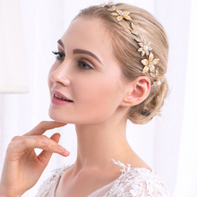 Miallo Baroque Style Bridal Tiaras Gold Plated Leaf Pearl Flower Rhinestone Wedding Hair Accessories Headband Crown Jewelry