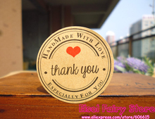 1200pcs Thank you red heart hand made with love Kraft Seal Sticker Gift Label Sticker For Party Favor Gift Bag Candy Box Decor