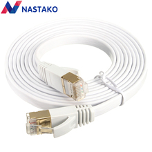 NASTAKO Cat7 Ethernet Cable RJ45 Cable Cat 7 Network Cable Rj45 Patch Lan Cable 1M 2M 3M 5M 10M 15M for PC Router Laptop White