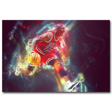 NICOLESHENTING Michael Jordan Dunks Super Basketball Star Art Silk Poster Print Sport Picture Home Wall Decoration 055(China)