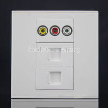 Wall Face Plate RCA AV + RJ11 Tel + RJ45 LAN Assorted Panel Faceplate Outlet(China)