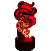 New Fierce Snake Wrapped Skull 3D LED USB Lamp Rock Style 7 Colors Changing Flash Atmosphere Night Light Desk Table Decor LAVA(China)