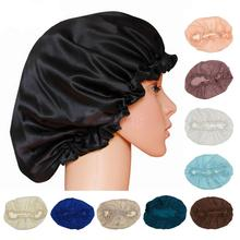 Fashion 100% Silk Sleeping Cap Sleep Hat Night Hair Care Bonnet Scarves 12colors(China)