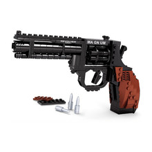 300pcs 1:1 Police Pistol Assemblage Scale Models & Building Toy Military Weapon Gun Revolver Blocks Hobby For Boys