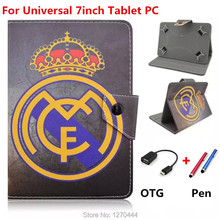 "with Football giants pattern Universal 7inch Tablet Soft  PU Leather Case Cover capa para For Samsung 7"" Tablet For Kids pen+OTG"