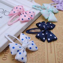 "2pcs/lot high quality polka dot 2 1/2"" inches bows baby infant girls hair snap clips hairpins children accessories for headwear"