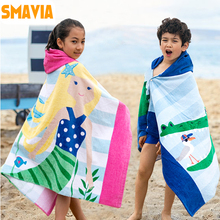 SMAVIA Wearable Cartoon Bath Towel 100% Cotton Soft Absorbent Children Beach Towel 125*60cm With Hat Bath Towel-Washable 15color(China)
