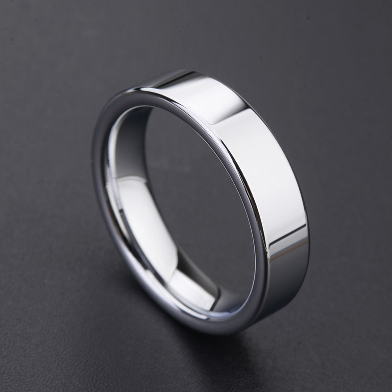 TUNGSTEN CARBIDE Black 5mm wide Unisex RING Band in size 8 in Gift Box NEW