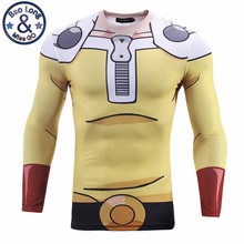 2017 New Fashion Anime One Punch Men 3D Printed Saitam Ken Long Sleeve T shirt Tight Slim Tee Tops Tshirt Homme Mens Clothing(China)