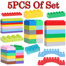 Bulk 5Pcs/Set 12dots Basics 2*4 2*8 Big Building Blocks Classic DIY Accessories Compatible with Duplo Enlighten Baby Toys Bricks(China)