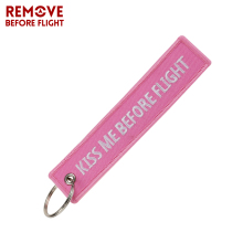 Fashion Keychain Bijoux Kiss Me Before Flight llaveros Keychains Embroidery Key Fobs OEM ATV Car Key Chains for Motorcycle Cars