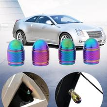 4Pcs Rainbow Color Bullet Shaped Car Wheel Tyre Valve Stem Cap Dust Cover Auto Aluminum Alloy Metal Tire Valve Caps Accessories(China)