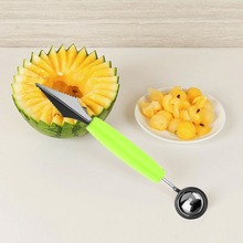 Double-End Multi Function Stainless Steel Fruit Baller Carving Knife Ice Cream Scoop Spoon Kitchen gadgets cook Tools