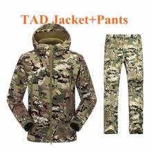Outdoor Camouflage Army TAD Shark Skin Soft Shell Jacket+Pants Winter Waterproof Clothing Uniform