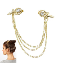 SHUANGR Crystal Feather Hair Brooch Clip Pin Cuff Chain Head Band Jewelry Headpiece Gold Color Tassel Headbands for Women