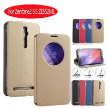 Newest Case For Asus Zenfone 2 5.5 inch ZE550ML ZE551ML Flip Stand Sleep Window Smart Phone Bag For ZenFone2 Leather  Phone Case