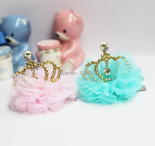 High-grade Girls Crown Hair Clips with Rhinestones and Romantic Tulle Little Princess Hair Clip for Birthday Party Sweet Clips(China)