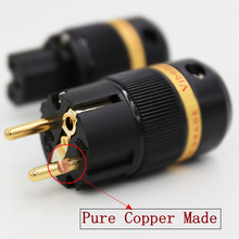 Viborg High End Pure Copper Gold Plated EU Schuko  Power Plug+ IEC Connector  for DIY Hifi  Power Cable  extension adapter