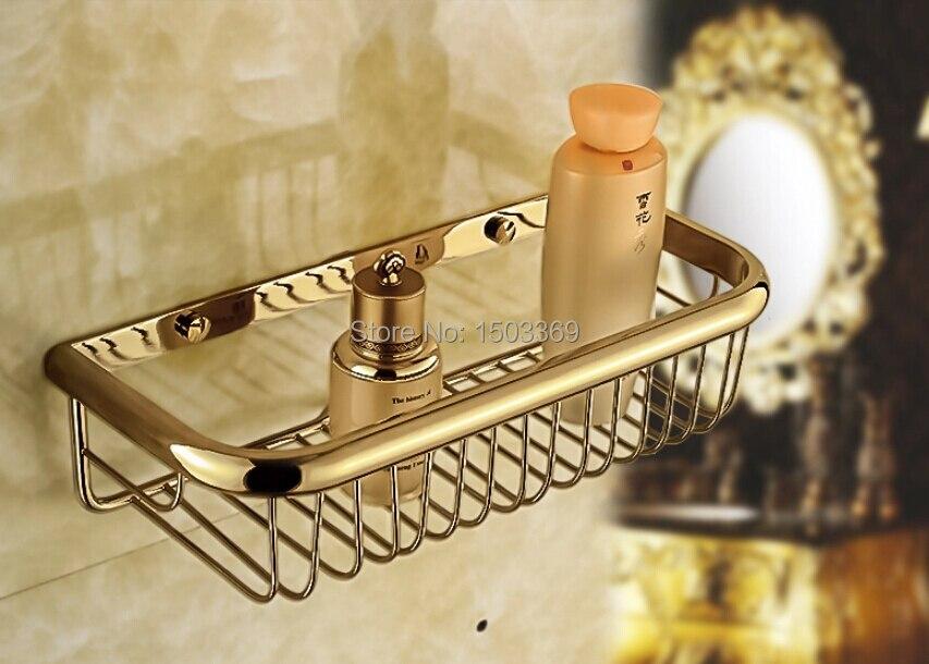 2017 top high quality total brass material gold finished bathroom shelves corner shelf soap basket holder bathroom accessories<br><br>Aliexpress