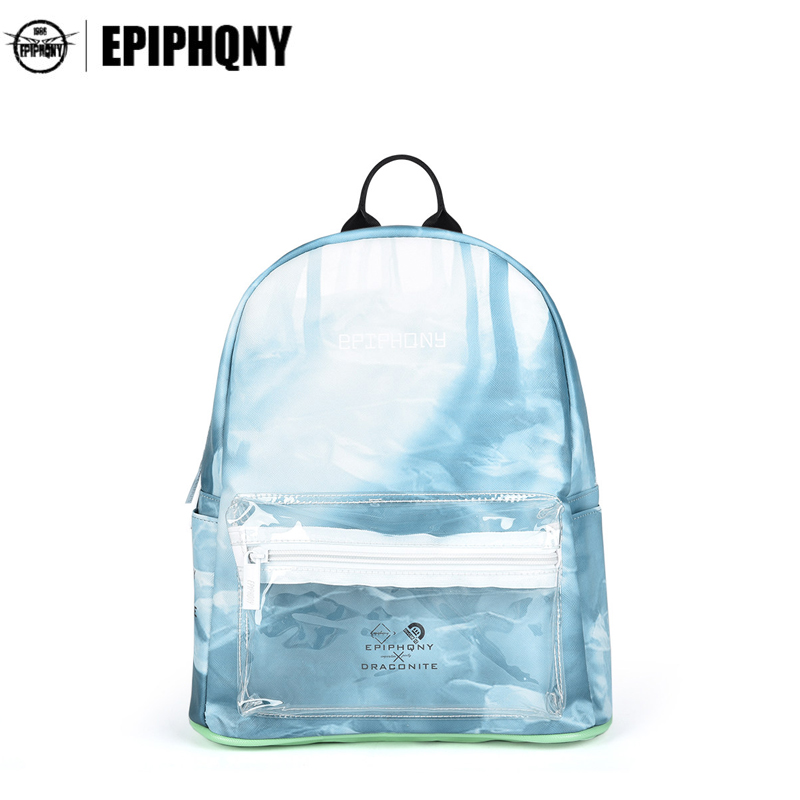 Epiphqny Famous Brand Forest Printing Backpack Women Bagpack Transparent Pocket PU Leather Packbag Small Travel Bag Girls<br>